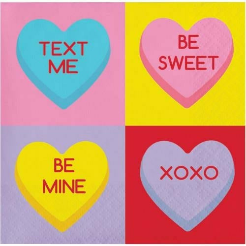 Candy Hearts Beverage Napkins 16ct