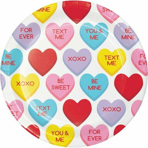 Candy Hearts Lunch Plates 8ct
