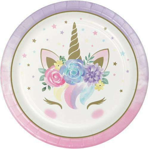Baby Unicorn Dinner Plates 8ct