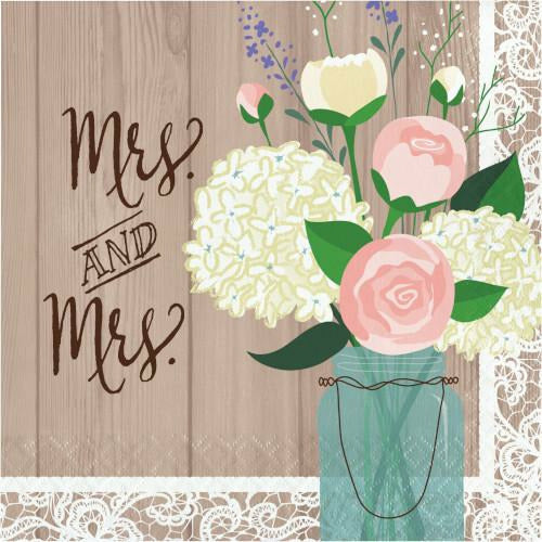 Rustic Wedding Mrs and Mrs Lunch Napkins