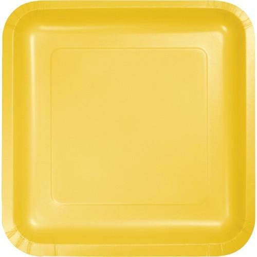 School Bus Yellow Square Lunch Plates 8ct - H10