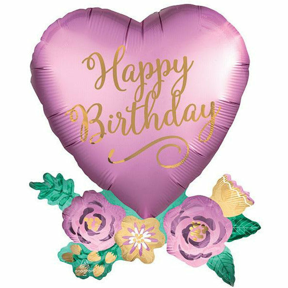 "355 Birthday Satin Heart With Flowers Jumbo 30"" Mylar Balloon"