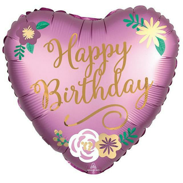 "449 Birthday Satin Flowers 18"" Mylar Balloon"