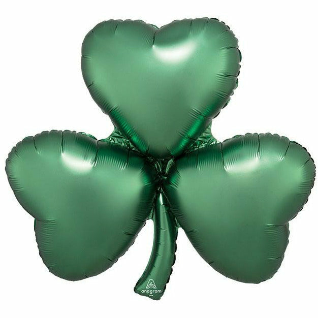 "Satin Emerald Shamrock Jumbo 29"" Mylar Balloon"
