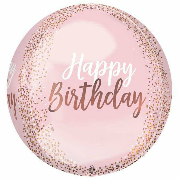 "354 Orbz Blush Birthday 16"" Mylar Balloon"