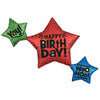 "352 Birthday Satin Star Trio Jumbo 39"" Mylar Balloon"