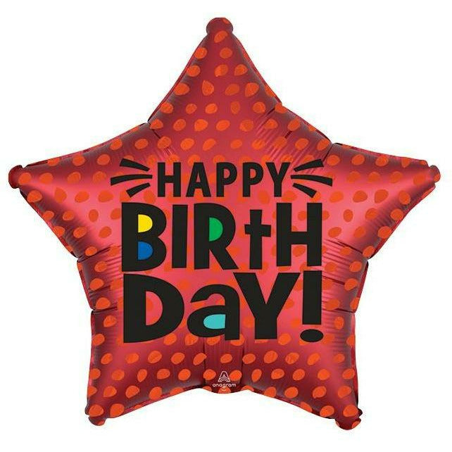 "479 Satin Infused Star Birthday 18"" Mylar Balloon"