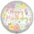 "Happy Birthday Boho Satin Flowers 18"" Mylar Balloon"
