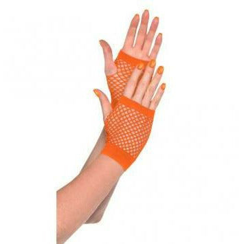 ORANGE SHRT FISHNET GLOVES