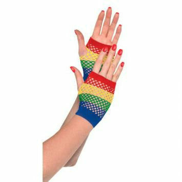RAINBOW SHRT FISHNET GLOVES