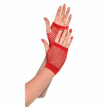 RED SHRT FISHNET GLOVES