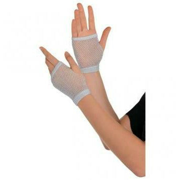 SILVER SHRT FISHNET GLOVES