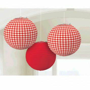 RED CHECKER LANTERNS - H8