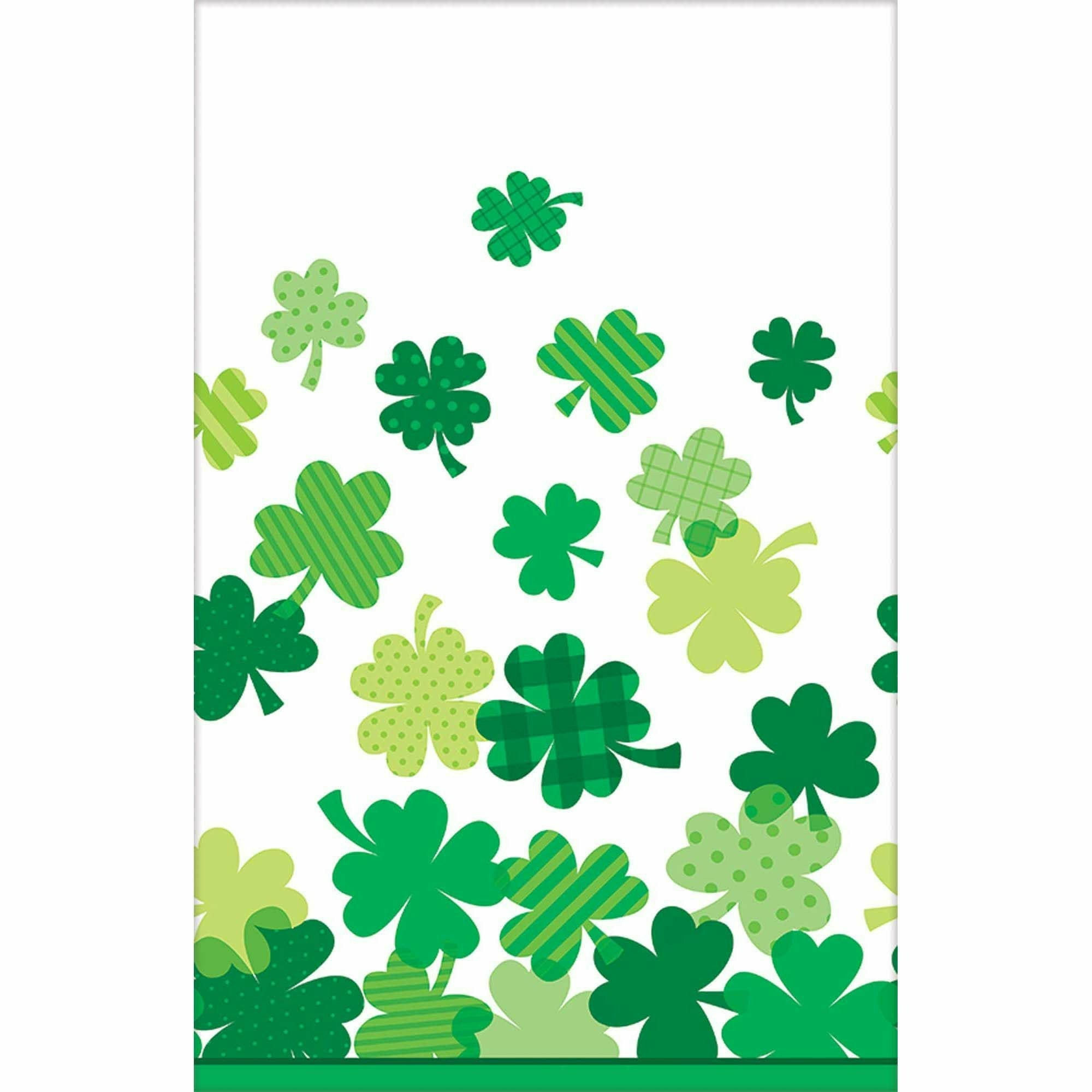 Blooming Shamrocks Plastic Table Cover