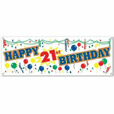 HAPPY 21ST BIRTHDAY BANNER