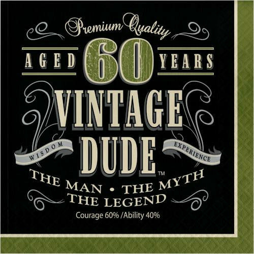 Vintage Dude 60 Lunch Napkins 16ct