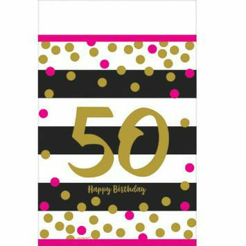 Pink & Gold 50th Tablecover