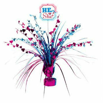 He or She Gender Reveal Spray Centerpiece