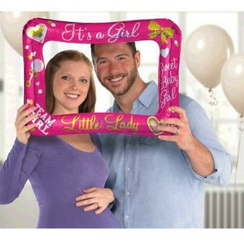Inflatable It's A Girl Gender Reveal Photo Frame Balloon