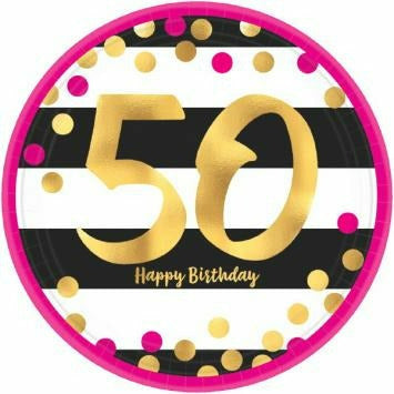"Pink & Gold 50th 7"" Plate"