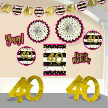 Pink & Gold 40th Deco Kit