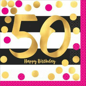 Pink & Gold 50th Lunch Napkins