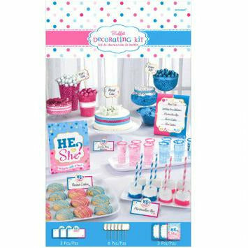 He or She Gender Reveal Buffet Decorating Kit 12pc