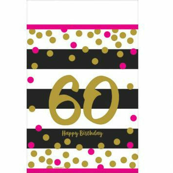 Pink & Gold 60th Tablecover