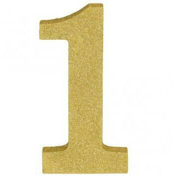 Glitter Gold Number 1 Sign