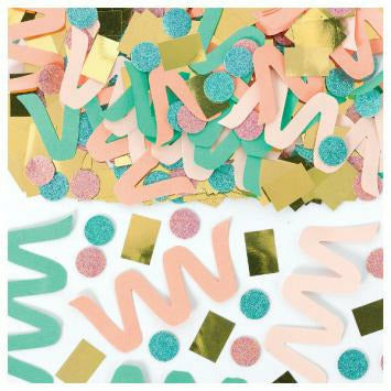 Gold/peach/teal Confetti