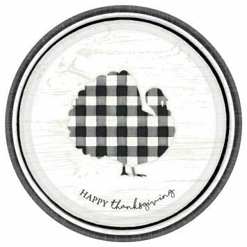 Black And White Check Turkey Plates Round Plates, 10 1/2""