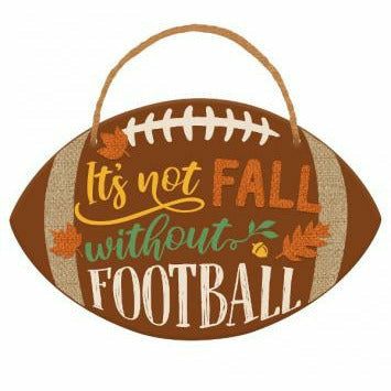 Fall Football Shaped Hanging Sign