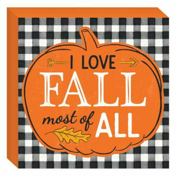 I Love Fall Square Plaque
