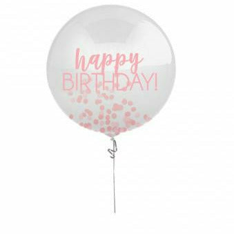 Printed Latex Balloon w/ Confetti Pink 24""