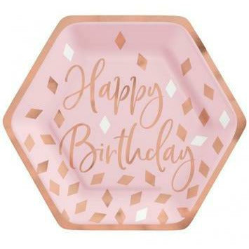 "Blush Birthday 7"" Hexagon Plate Metallic"