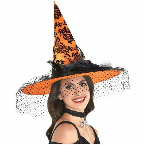 Orange Fancy Witch Hat