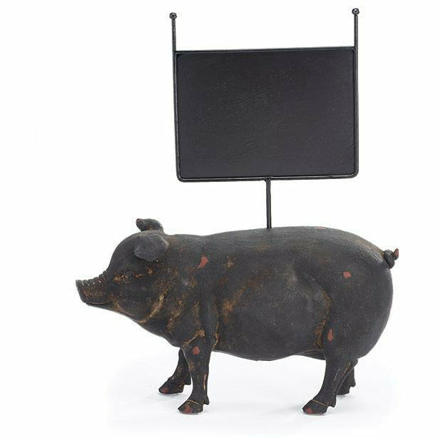 DISTRESSED BLACK RESIN PIG MESSAGE BOARD
