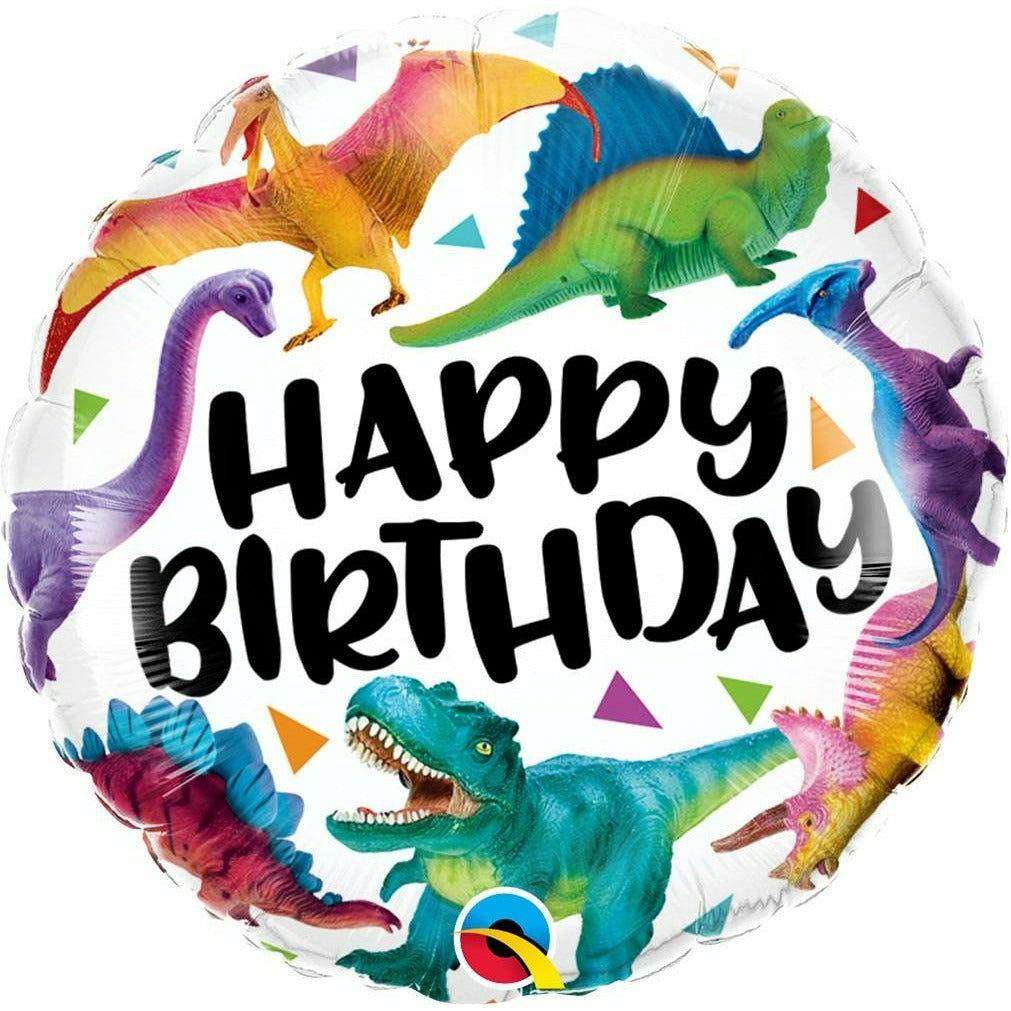 "255 Birthday Colorful Dinosaurs 18"" Mylar Balloon"