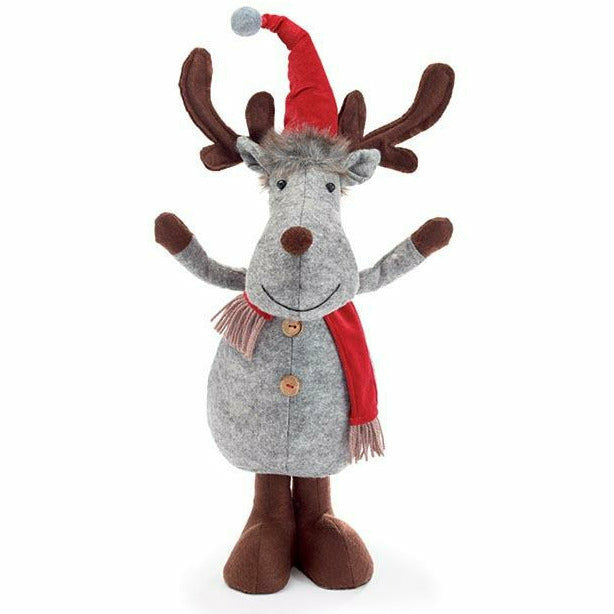 GRAY MOOSE WITH RED VELVET HAT AND SCARF