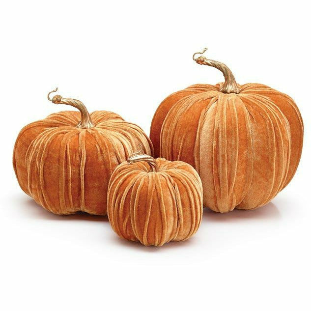 VELVET WRAPPED PUMPKIN WITH STEM