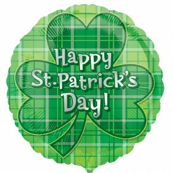 Happy St. Patrick's Day Plaid Mylar Balloon