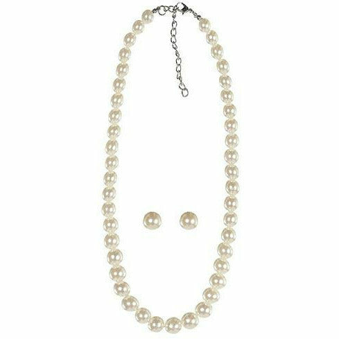 Adult Pearl Earrings & Necklace Set