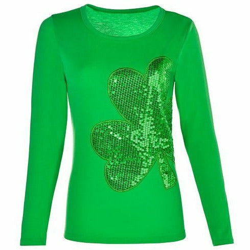 Adult Sequin Shamrock Long-Sleeve Shirt