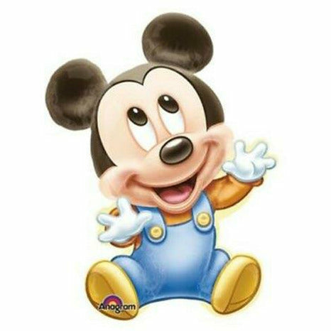 "E010 Baby Mickey Mouse Blue Jumbo 32"" Mylar Balloon"