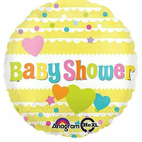 "E005 Baby Shower Yellow Hearts 17"" Mylar Balloon"