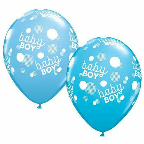 "Baby Boy Blue White Dots A Round 11"" Latex Balloon"