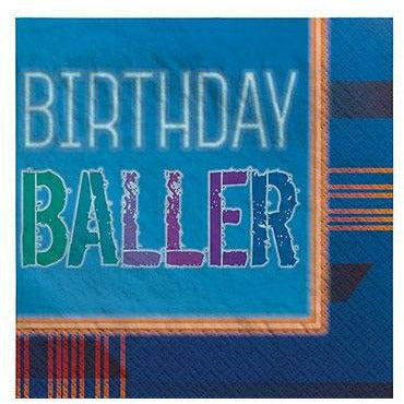 Birthday Baller Beverage Napkins 16ct