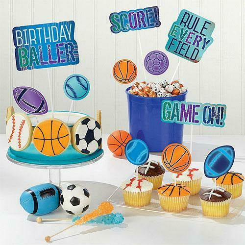 Birthday Baller Cake Toppers 12ct