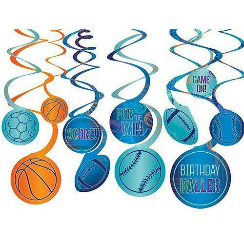 Birthday Baller Swirl Decorations 12ct