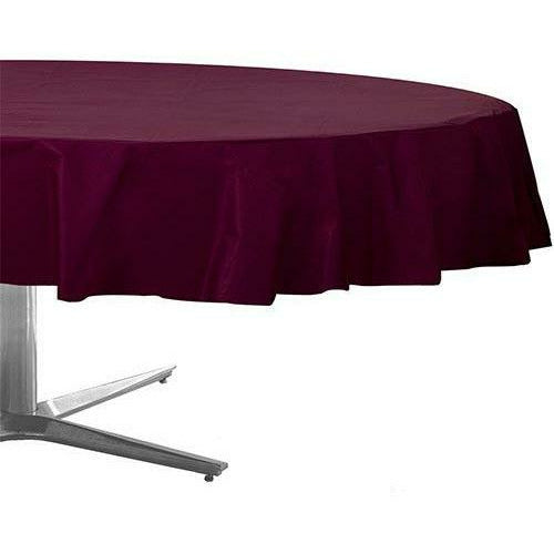 Berry Plastic Round Table Cover 84in